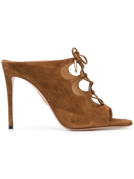 Aquazzura women mules leather brown shoes