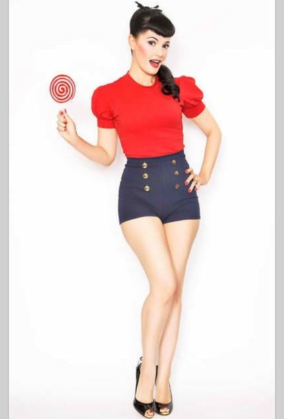 Shorts: high waisted shorts, buttons, gold buttons, jeans, pin up ...