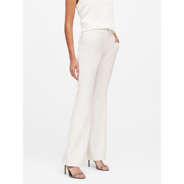 Banana Republic Women's High-Rise Flare Tuxedo Pant White Regular Size 12