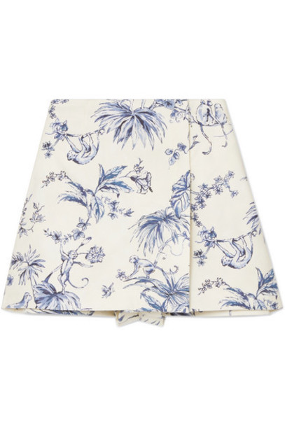 REDValentino - Wrap-effect Printed Cotton-canvas Shorts - Ivory