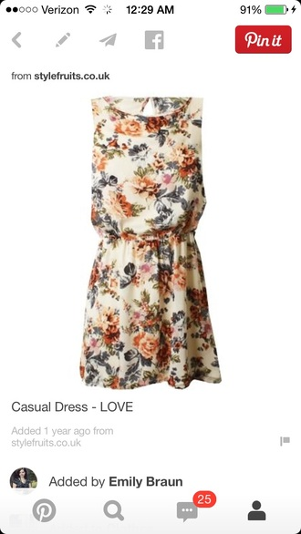 sundress floral casual casual dress peach cream fitted waist leaves
