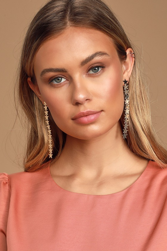 All The Stars In The Sky Gold Drop Earrings