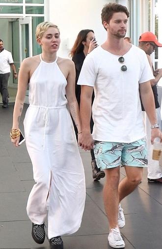 dress white dress maxi dress miley cyrus shoes