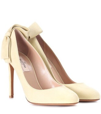 suede pumps bow pretty pumps suede yellow shoes