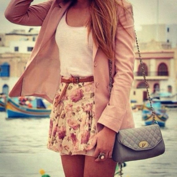 skirt floral floral skirt pink pretty girly outfit girly bag crossbody bag crossbody pretty outfit floral skirts pink blazer blazer belt belted skirt skirt with belt belted jacket