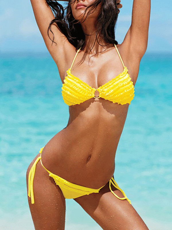 swimwear bikini yellow beach swimwear two-piece