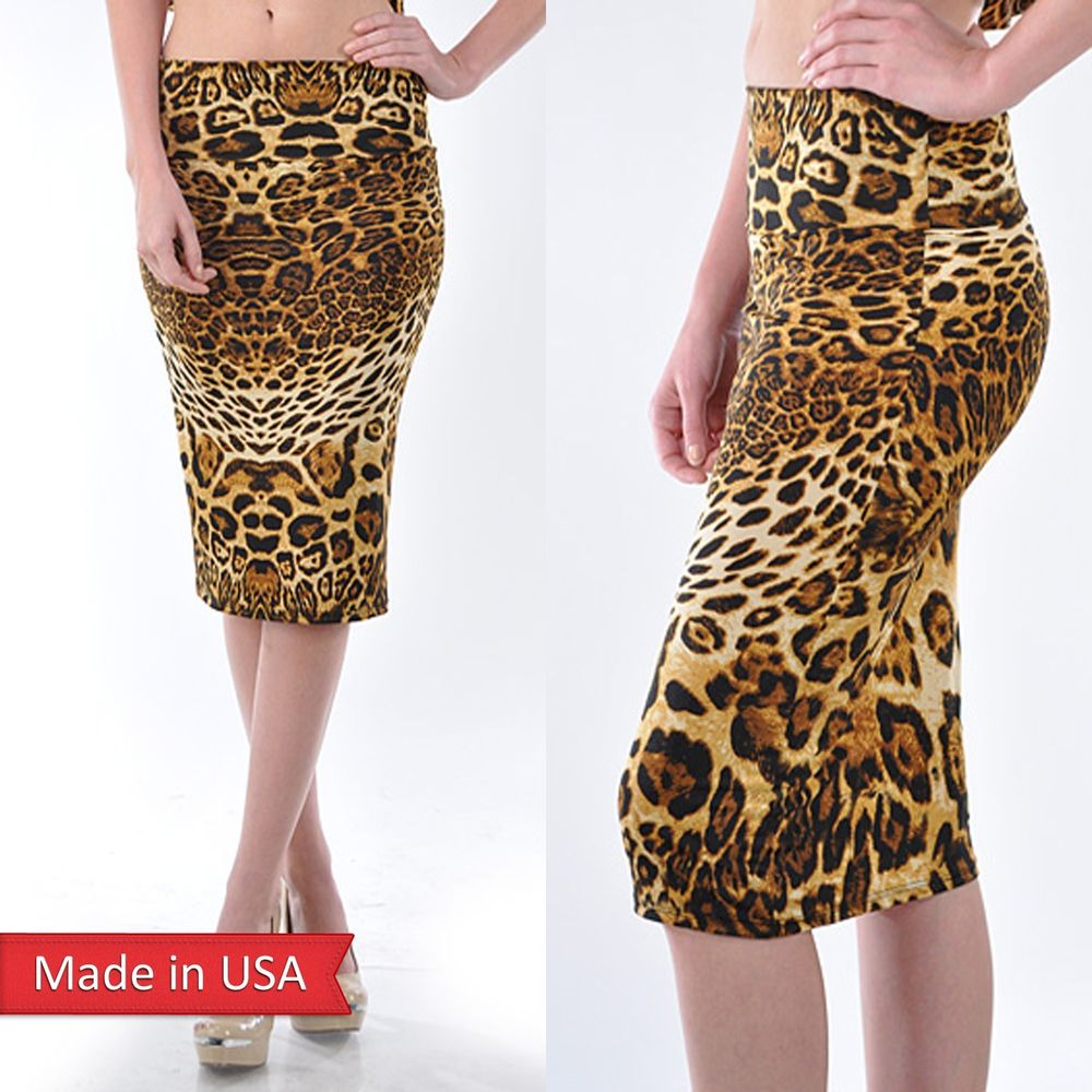 Sexy Leopard Animal Print High Waist Fitted Bodycon Pencil Skirt Reg Plus Size