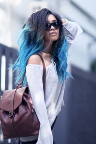 sweater off the shoulder blue hipster backpack sunglasses zaful