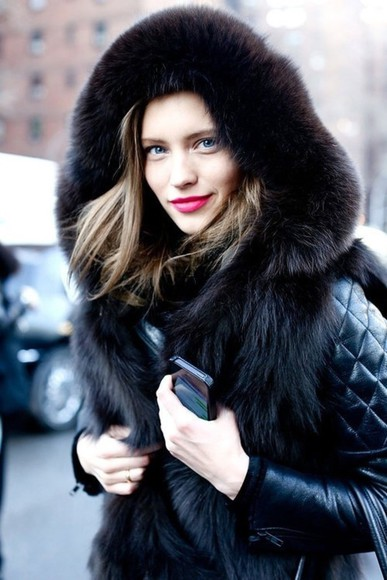 jacket fur black leather jacket