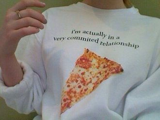 sweater pizza shirt white funny tumblr tumblr shirt tumblr clothes sweaters cute print food yum food junk food alternative soft grunge grunge girly grunge fashion cute cute sweaters