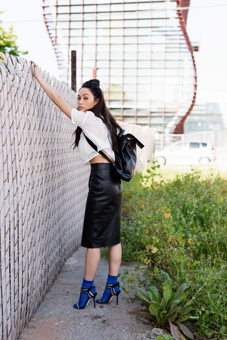 caradisclothed blogger socks white top mesh top see through pencil skirt leather skirt backpack strappy heels