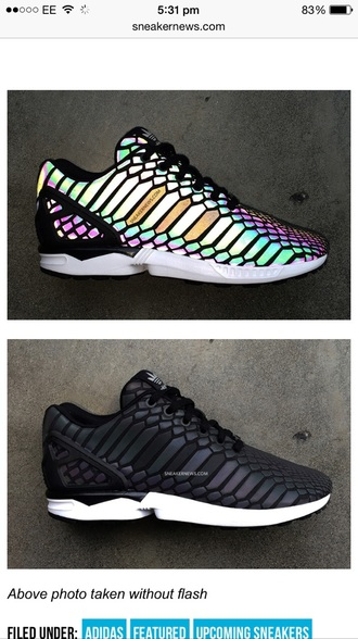 shoes fluxzx zx flux adidas adidas shoes black shoes snake reflective shoes