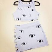 dress,eye,eyes,eyes print,crop tops,skirt,top,cute,cute dress,sexy,sexy dress,hollow out,hollow dress,cut-out,cut-out dress,clothes,fashion,shirt,bag,cartoon,yellow,handbag