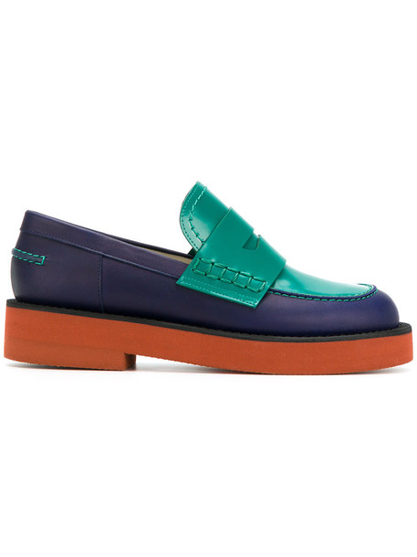 MARNI women loafers leather blue shoes