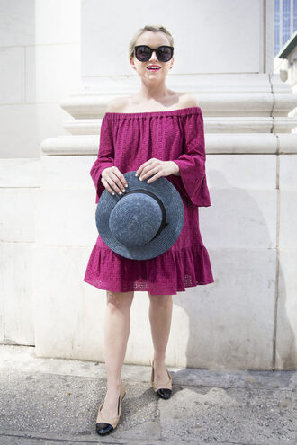 poor little it girl blogger dress hat shoes sunglasses off the shoulder burgundy burgundy dress mini dress flats nude