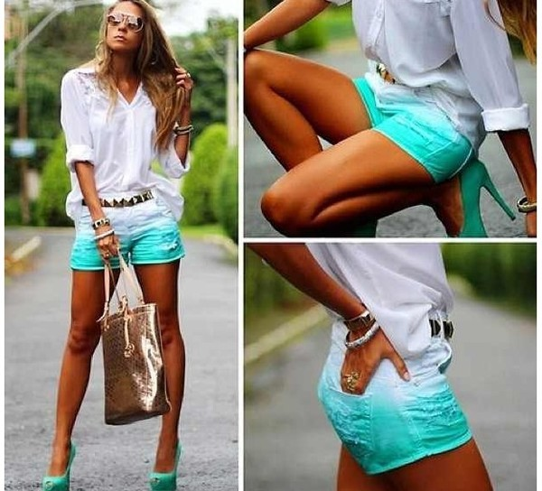 shorts blue teal aqua denim shorts dip dyed ombre shorts ombre summer distressed shorts high waisted denim shorts