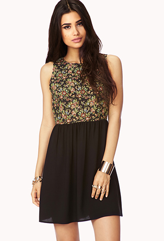 Sweet Floral Combo Dress | FOREVER21 - 2000093184