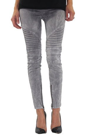 Washed Moto Leggings (Grey) - ShopFrankies.com