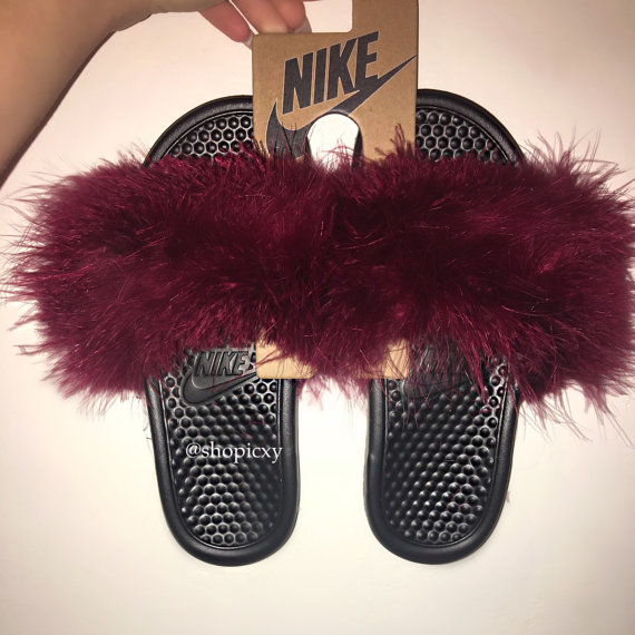 Model Fur Nike Slides  Yen Gang