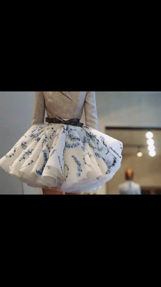 skirt white white skirt floral blue floal blue