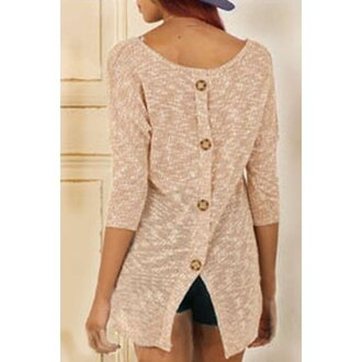 sweater fashion style pink stylish scoop neck 3/4 sleeve button design slit knitwear for women trendy cool cute girly buttons fall outfits
