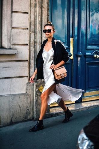 le fashion blogger sunglasses jacket dress bag