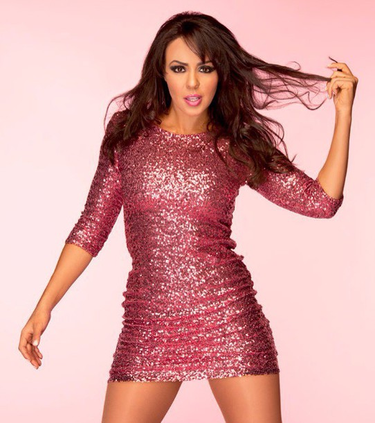 dress pink sequin dreso mid sleev