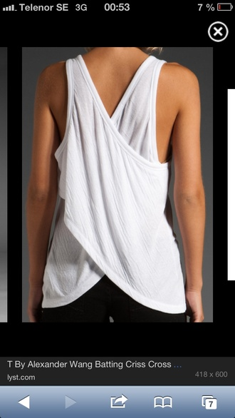 tank top criss cross buy back batting clothes white alexander wang