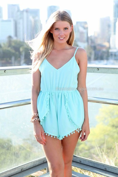 dress romper aqua pom poms