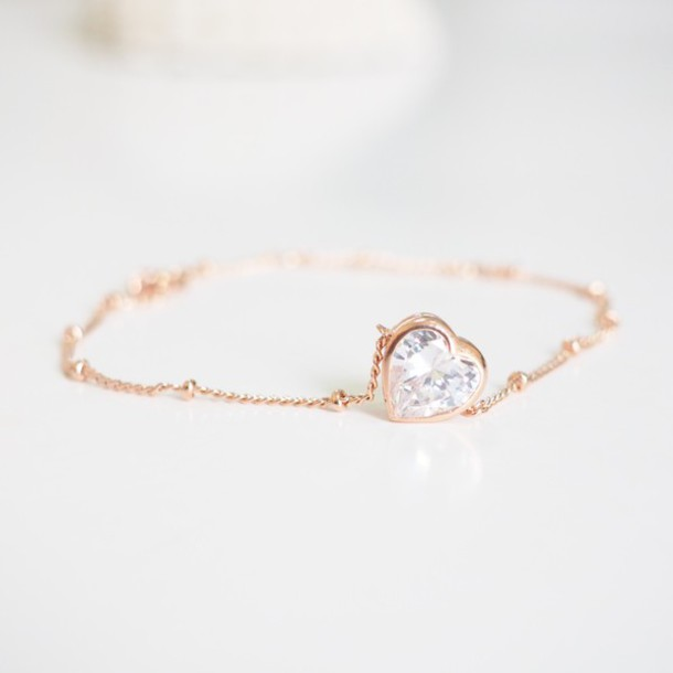 Jewels Sisideas Love Heart Bracelets Rose Gold Trendy Cute Gift Ideas Lovely Girlfirend