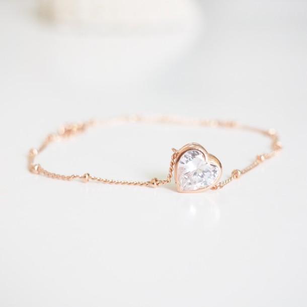 Jewels Sisideas Love Heart Love Bracelets Rose Gold Trendy
