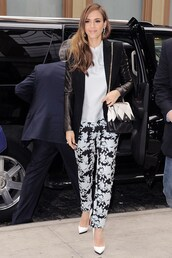 jacket,jessica alba,winter outfits,printed trousers,white high heels,bag