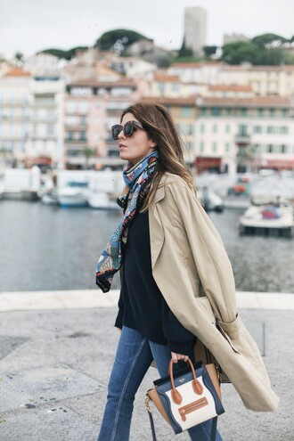 coat tumblr camel camel coat trench coat denim jeans blue jeans bag printed bag sweater black sweater scarf silk scarf sunglasses fall outfits beige coat flare jeans