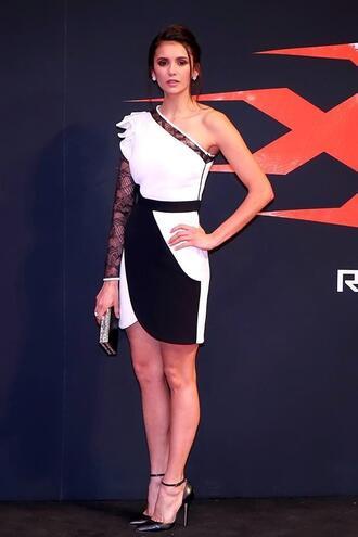 dress asymmetrical asymmetrical dress nina dobrev pumps black and white