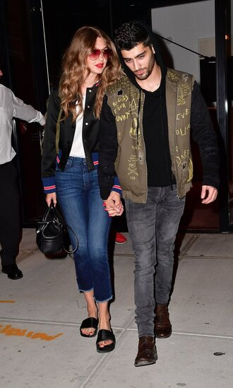 jeans bag gigi hadid jacket shoes slide shoes sunglasses zayn malik couple menswear mens t-shirt mens shirt pink sunglasses bomber jacket black bomber jacket skinny jeans cropped jeans flats gigi hadid style hadid sisters cropped bootcut jeans cropped bootcut blue jeans
