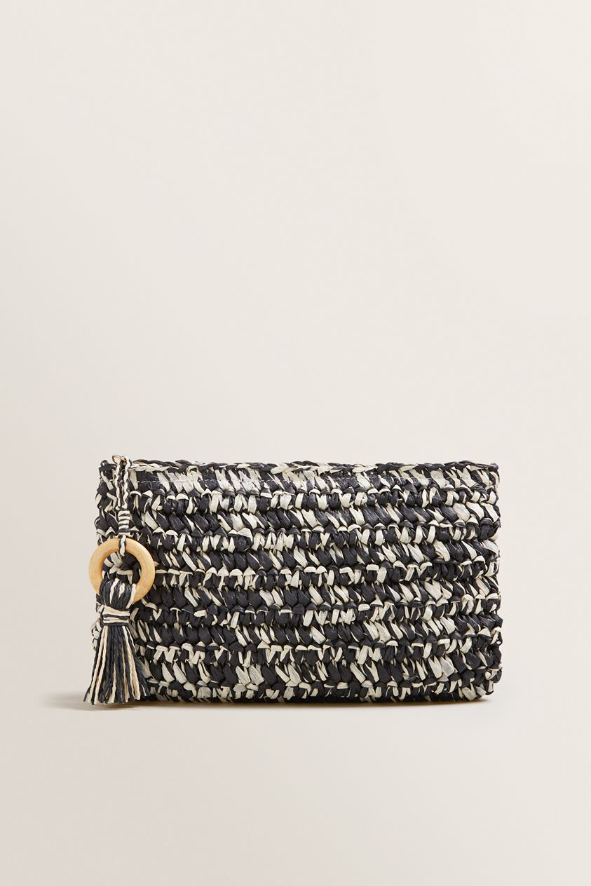 Two Tone Straw Pouch