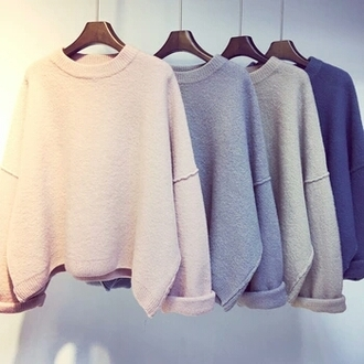 sweater fluffy soft cute sweater peach grey blue dark blue light blue white sweatshirt cute kawaii grunge kawaii soft grunge loose cream