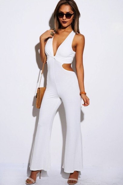 Jumpsuit: clothes, romper, celebrity, celebrity style, sexy, white ...