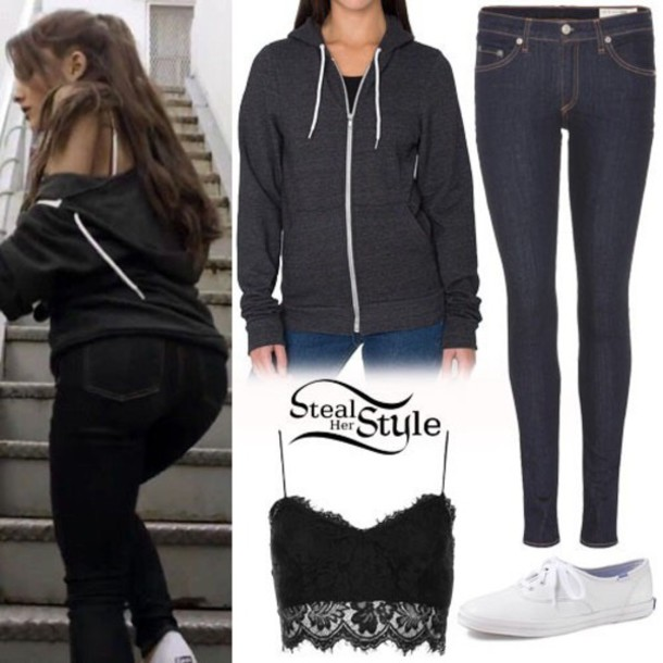 Jeans sweater ariana grande outfit shirt - Wheretoget