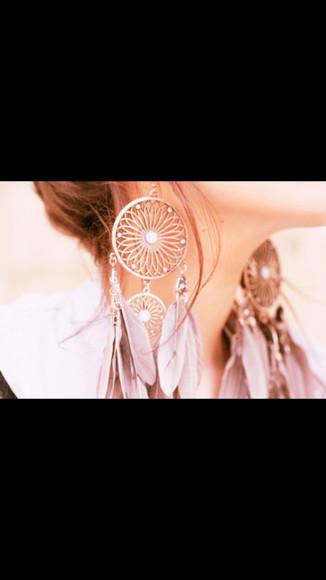 feathers jewels dreamcatcher earrings