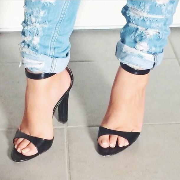 jeans boyfriend jeans denim shoes high heels black