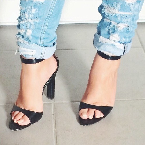 jeans boyfriend jeans denim shoes high heels black