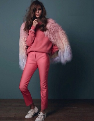 pants all pink outfit all pink everything pink sweater sweater pink pants sneakers coat fur coat pink coat