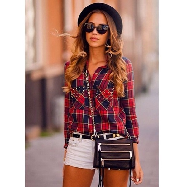 blouse top button down flannel plaid ootd wiwt fashion blogger style blogger steal the look