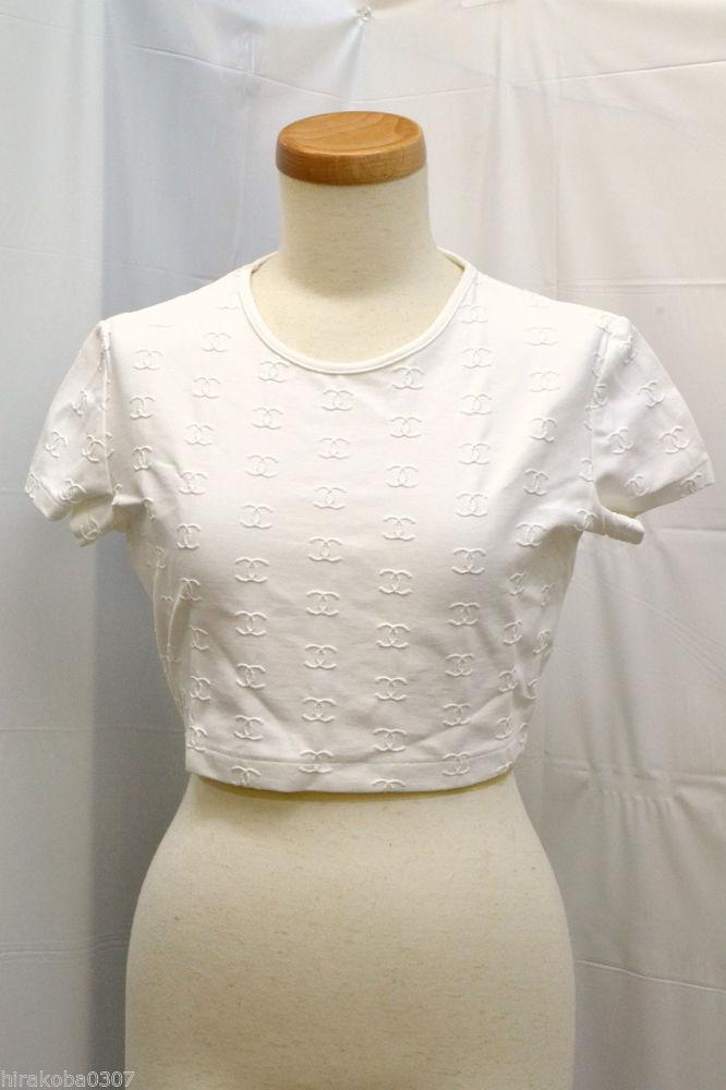 Auth Chanel Womens 97P Coco CC Mark Short Sleeve Length T Shirt White 42 8   eBay