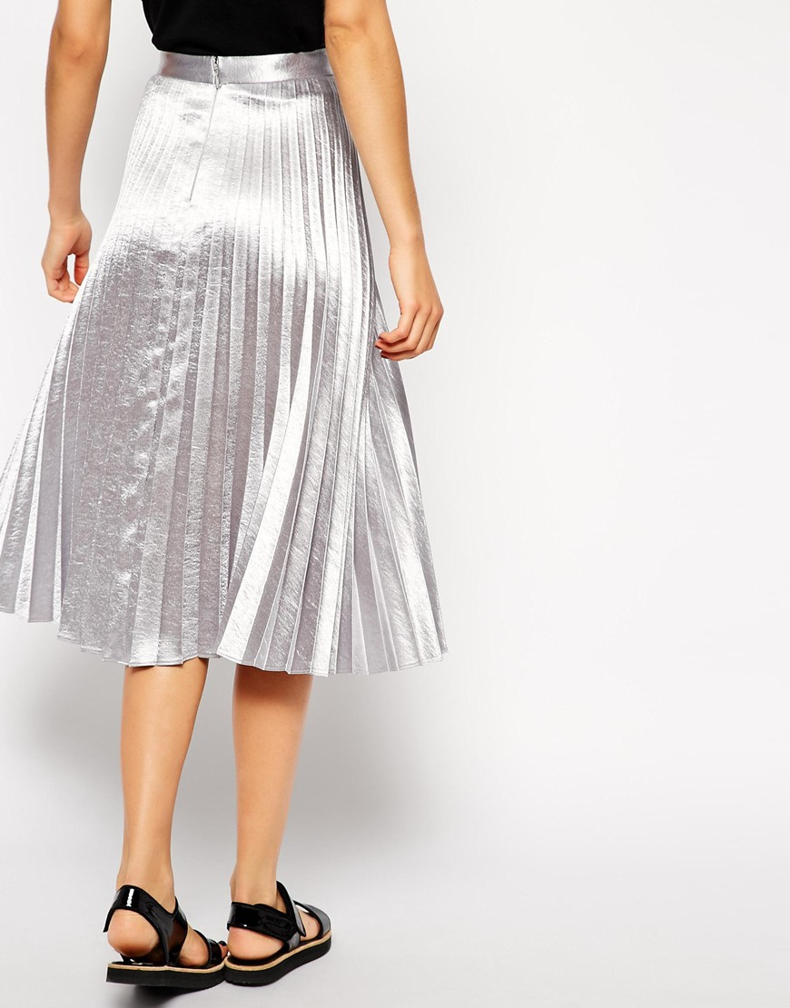 ASOS Pleated Midi Skirt In Metallic at asos.com