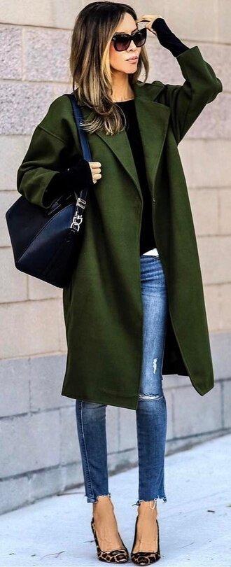 coat black shirt green coat ripped jeans animal print stilettos blogger black bag sunglasses