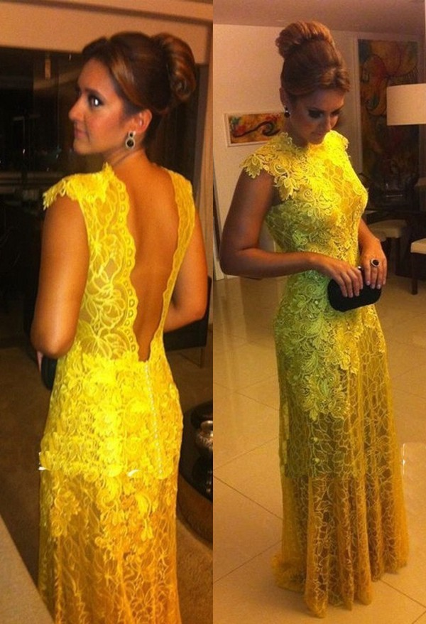 lace dress yellow dress evening dress party dress