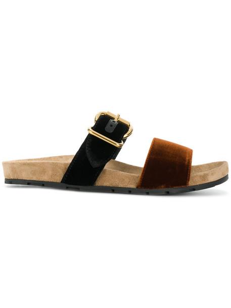 Prada women sandals leather black velvet shoes