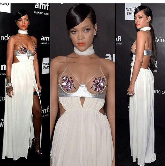 dress rihanna white dress